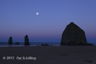 Moonset over Cannon beach